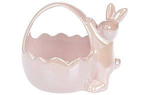 Декоративная конфетница Кролик с корзиной, 15,7см, цвет - розовый перламутр, 739-702