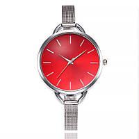 Часы женские Geneva наручные кварцевые с никелированным металлическим ремешком и красным циферблатом