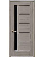 Дверное полотно Грета Ясень New с черным стеклом