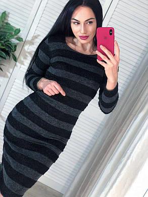 Вязанное платье в полоску, размер единый 42-6, фото 2