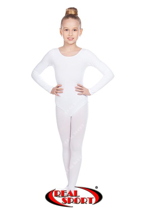 Гимнастический купальник, белый GM030141(хлопок, р-р L-XL, рост 146-164см)