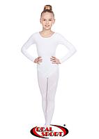 Гимнастический купальник, белый GM030141 (хлопок, р-р L-XL, рост 146-164 см), фото 1