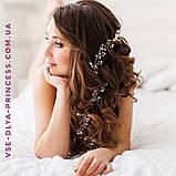 Веточка веночек с жемчугом и цветами в прическу тиара гребень ободок, под серебро, фото 8