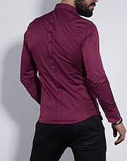 Рубашка мужская приталенная, длинный рукав. Турция S, M, XL Молодежная турецкая рубашка. Марсал, фото 3