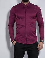 Рубашка мужская приталенная, длинный рукав. Турция S, M, XL Молодежная турецкая рубашка. Марсал