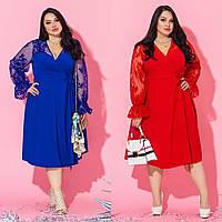 Женское нарядное платье батал на запах/разные цвета, 48-64, ST-56835/