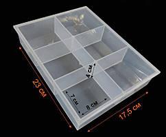 (23х17,5х4см) Органайзер-витрина для бисера, бусин, мелочей 6 ячеек