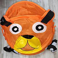 Корзина для игрушек  1039 животное,диам.37 см,выс 47/57 см,крыш-липуч,в кульке,39-39-2 см собачка оранжевая