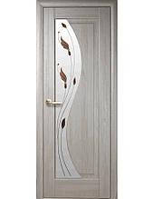Дверное полотно Эскада Ясень New со стеклом сатин и рисунком Р1