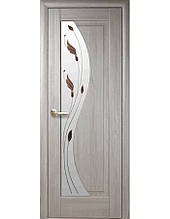 Дверное полотно Эскада Ясень New со стеклом сатин и рисунком Р1 2000х600