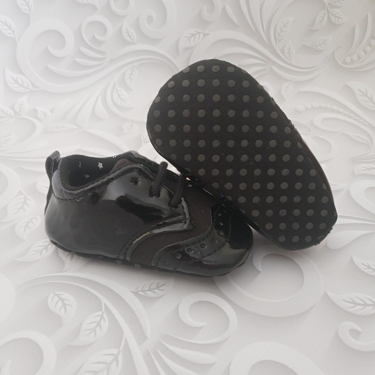 Черные лаковые пинетки,туфли оксфорд
