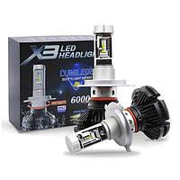 Светодиодные автомобильные лампы X3 LED Headlight H7 6000 Лм / 50 Вт комплект автомобильных светодиодных ламп
