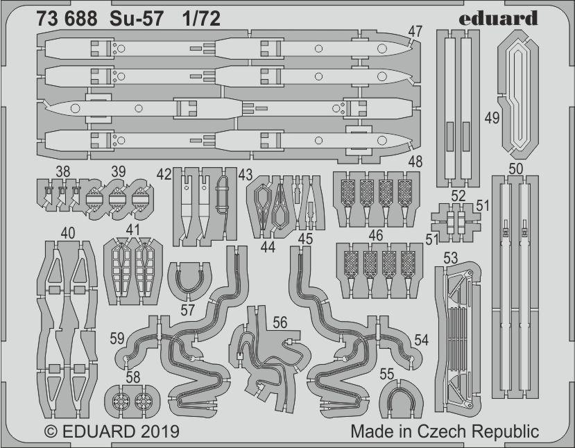 Су-57 набор фототравления для модели ZVEZDA. 1/72 EDUARD 73688