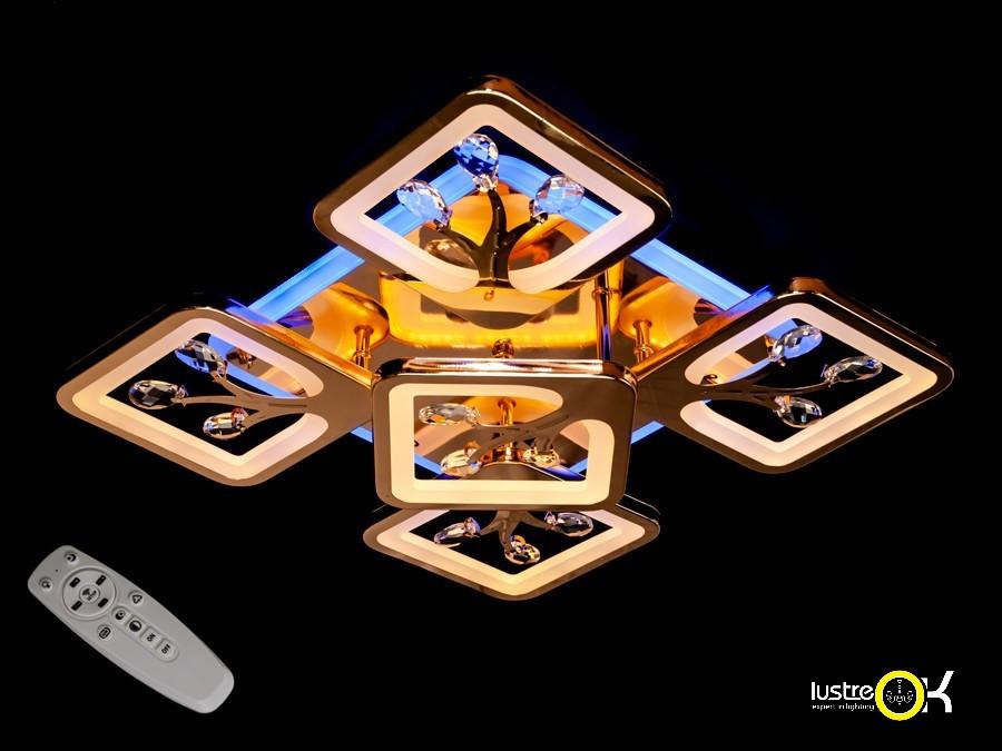 Люстра светодиодная потолочная S8157/4+1G LED 3color dimmer