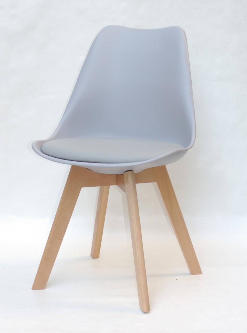 Стул пластик Milan (Милан) серый 35 на деревянных ножках, мягкое сиденье