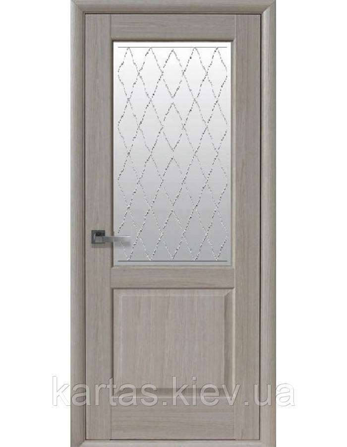 Дверное полотно Эпика Ясень New со стеклом сатин с рисунком Р2