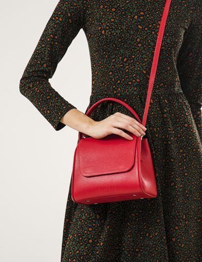 Жіноча шкіряна сумка червона VERONA