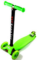 Детский самокат MAXI, светящиеся колеса, зеленый