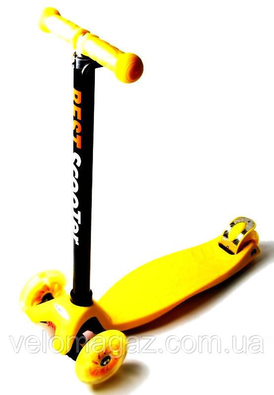 Детский самокат MAXI, светящиеся колеса, желтый