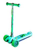 Самокат детский складной SMART ZOO SMALL CROCODILE, светящиеся колеса, фото 1