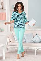 """Летний женский брючный костюм """"Неаполь"""" с блузой в цветочек (2 цвета)"""