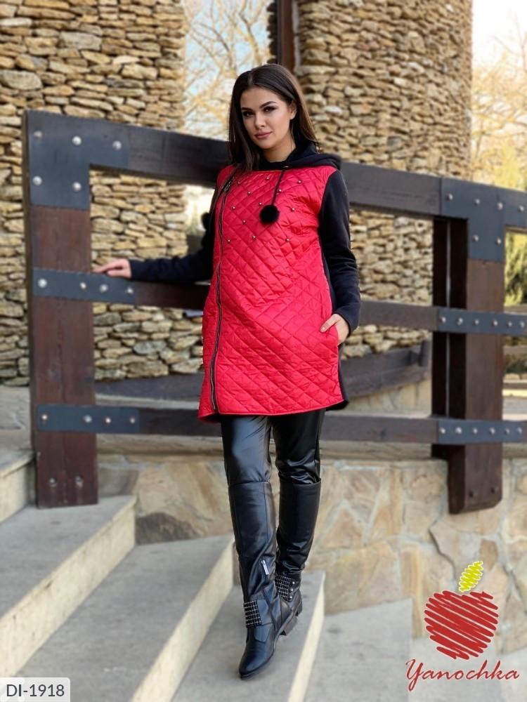 Куртка на молнии с меховыми балабонами  большого размера 50-52, 54-56