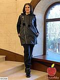 Куртка на молнии с меховыми балабонами  большого размера 50-52, 54-56, фото 2