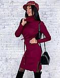 Женское платье из плотного машинного трикотажа с поясом и разрезами (в расцветках), фото 5