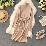 Женское платье из плотного машинного трикотажа с поясом и разрезами (в расцветках), фото 7