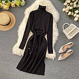 Женское платье из плотного машинного трикотажа с поясом и разрезами (в расцветках), фото 8