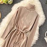 Женское платье из плотного машинного трикотажа с поясом и разрезами (в расцветках), фото 10