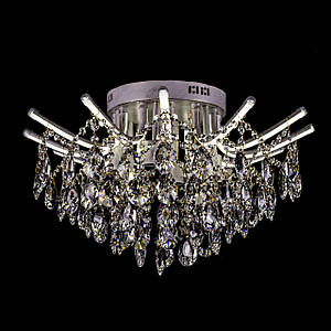 Кришталева люстра зі світними ріжками на 6 лампочок P5-E1606/6+12/WT+FG