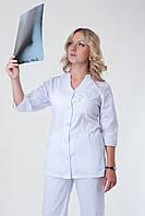 Женский медицинский брючный костюм белый Medical-2242 (батист)