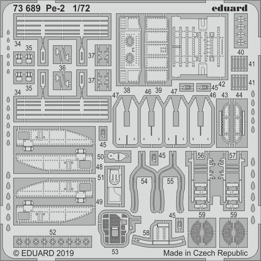 Набор деталировки для модели самолета Пе-2. 1/72 EDUARD 73689