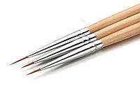 Кисти для росписи и дизайна ногтей набор 3 шт
