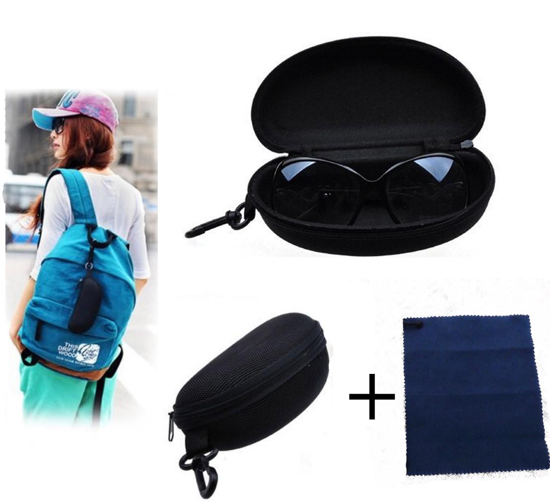 Бокс / футляр / кейс / кофр / чохол для зберігання окулярів жорсткий на блискавці + серветка з мікрофібри