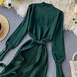 Женское платье трикотаж рубчик с юбкой-плиссе (в расцветках), фото 3