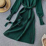 Женское платье трикотаж рубчик с юбкой-плиссе (в расцветках), фото 7