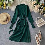 Женское платье трикотаж рубчик с юбкой-плиссе (в расцветках), фото 4