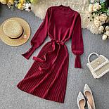 Женское платье трикотаж рубчик с юбкой-плиссе (в расцветках), фото 6