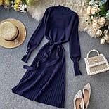 Женское платье трикотаж рубчик с юбкой-плиссе (в расцветках), фото 5