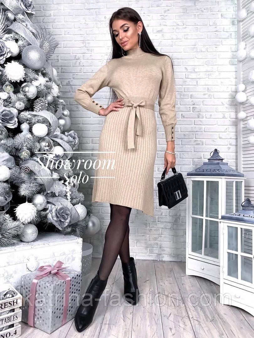Женское платье трикотаж рубчик с юбкой-плиссе (в расцветках)
