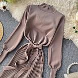 Женское платье трикотаж рубчик с юбкой-плиссе (в расцветках), фото 9