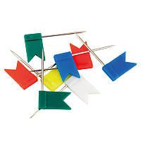 Кнопки-гвоздики цветные флажки, 30 шт, пласт конт, AXENT, 4215-A