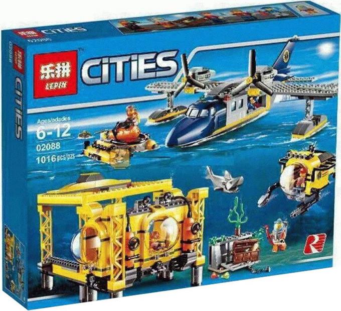 """Конструктор Lepin 02088 """"Глубоководная исследовательская база"""" 1016 деталей. Аналог LEGO City 60096"""