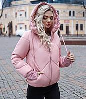 Теплая женская короткая курточка на молнии