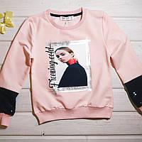 Модный свитшот для девочки розовый  Размеры  134