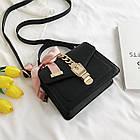 Женская стильная сумочка современного дизайна,  черная UA-2, фото 10