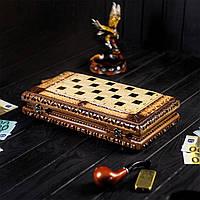 Шахматы-нарды ексклюзивной ручной работы, компактные, фото 1