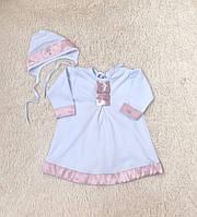 Крестильная рубашка и чепчик для девочки 62-74 см